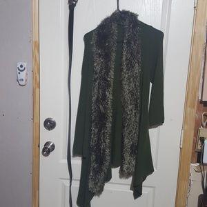 Army military green fur collar cardigan